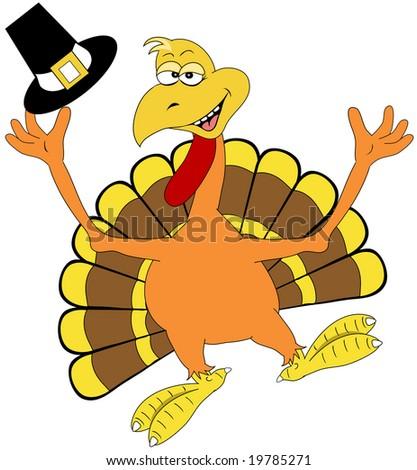 Happy turkey illustration. - stock photo