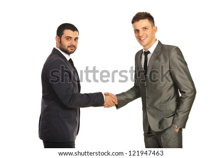 Happy two business men giving hand shake isolated on white background - stock photo