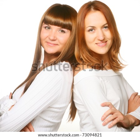 Happy. Two girlfriends. Clean face. - stock photo
