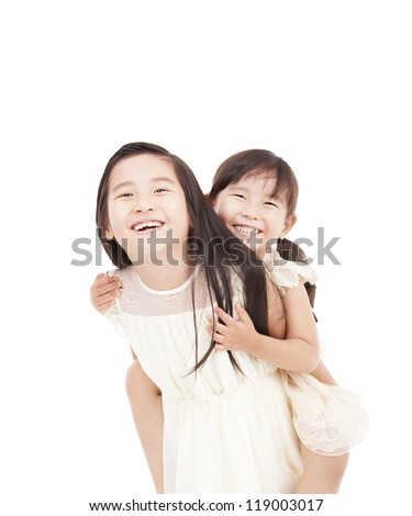 happy two little girls isolated on the white background - stock photo