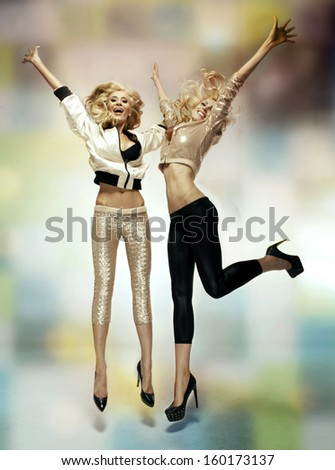 Happy two women - stock photo