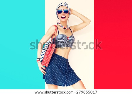 Happy Vacation Girl. Marine style fashion - stock photo