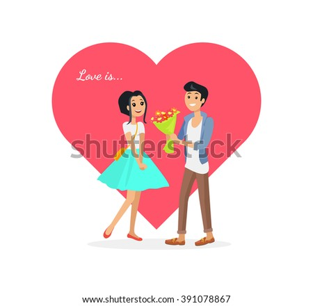Happy valentine day couple on date. Man give flower woman. Valentine and day, couple and valentines day, happy valentine, couple in love, young couple, love and happy couple, flower and event. Love is - stock photo