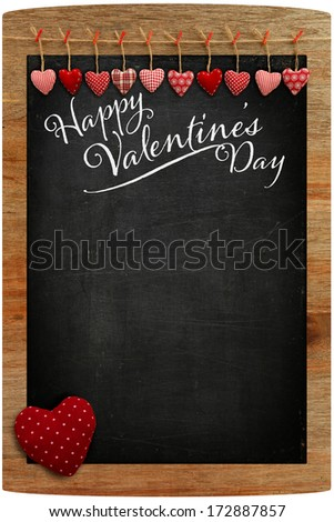 Happy Valentine's Day Chalkboard with Love message and red Heart in corner, copy space for love message - stock photo