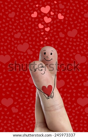 Happy Valentine's Day finger art theme series. Lovers is embracing and holding red heart. Stock Image. There are path included in image. You can easily cut out fingers from the background.  - stock photo