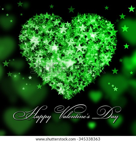 Happy Valentine's Day. Green heart with the stars - stock photo