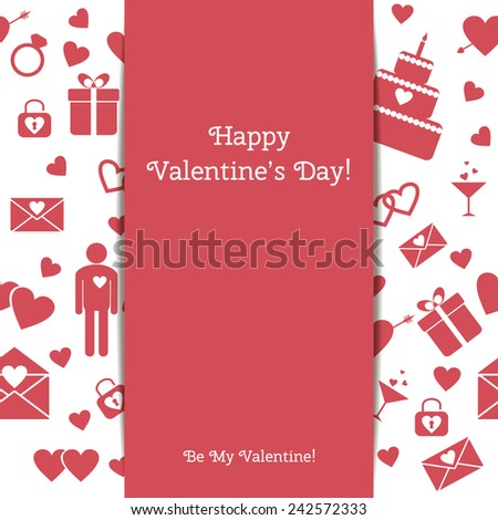 Happy Valentine's Day greeting card with seamless pattern. Raster version - stock photo
