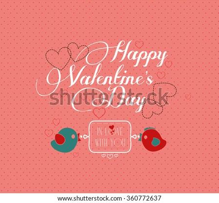 happy valentine's day hand lettering - handmade calligraphy - stock photo
