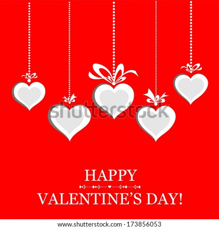 Happy Valentine's day! Heart frame. Celebration red background with hearts and place for your text.  illustration  - stock photo