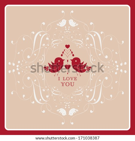 Happy Valentine's Day invitation card with floral ornament label. I Love You. Perfect as invitation or announcement.  For vector version, see my portfolio. - stock photo
