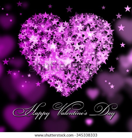 Happy Valentine's Day. Pink heart with the stars - stock photo