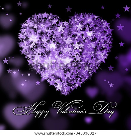 Happy Valentine's Day.Purple heart with the stars - stock photo
