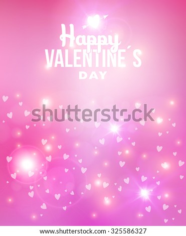 Happy Valentines Day abstract blurred background illustration with soft light, hearts love and vintage label. Ideal for greeting card, poster design and web template. - stock photo