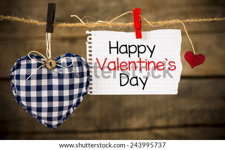 Happy Valentines day and heart. Happy Valentines day and heart hanging on a rope  - stock photo