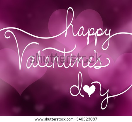 happy valentines day background with pink hearts and hand written typography or text in cursive white letters and cute heart design - stock photo