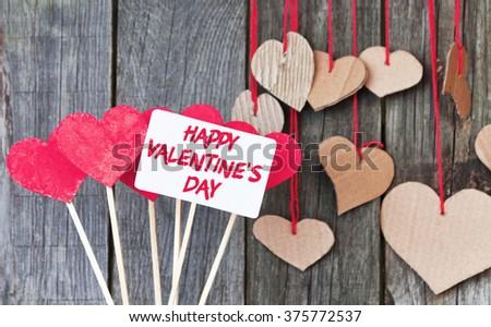 Happy Valentines Day card - stock photo