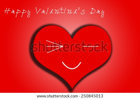 Happy Valentines Day card in heart red color with wink face smile. In red background. - stock photo