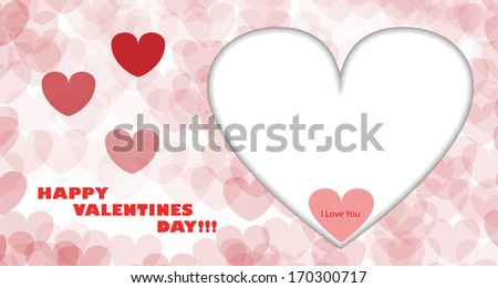 Happy Valentines Day Card with Big White Heart, Small Red Heart and I Love You Text in it.  - stock photo