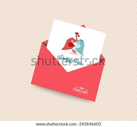 happy valentines day card with envelope heart and bird - stock photo