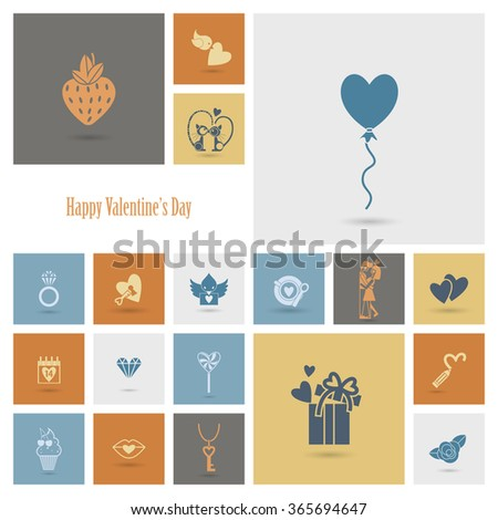 Happy Valentines Day Icons - stock photo