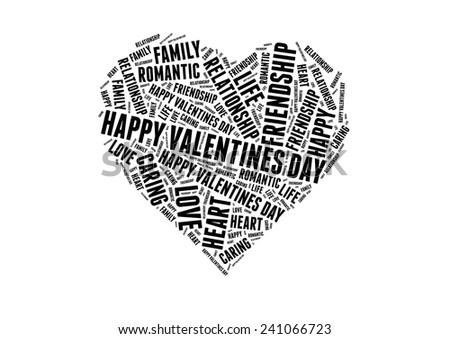 Happy valentines day with Love info-black and grey text graphic concept composed in heart shape on white background - stock photo