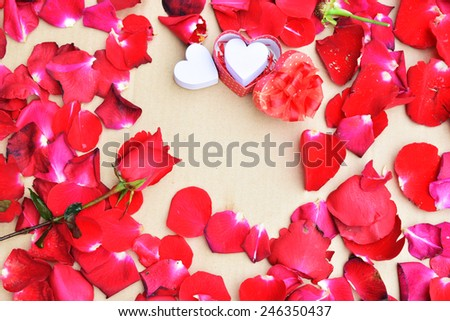 Happy Valentines day with Roses and hearts background - stock photo