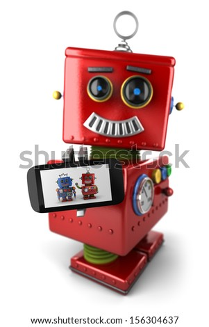 Happy vintage toy robot with smartphone over white background - stock photo