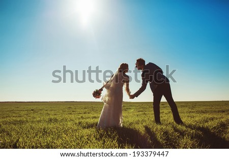 Happy wedding  couple in field. Young groom and bride. - stock photo