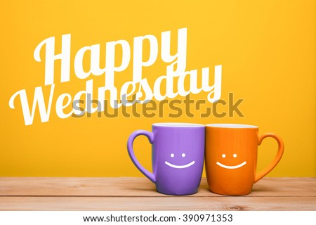 Happy wednesday Coffee Cup Concept isolated on yellow background - stock photo