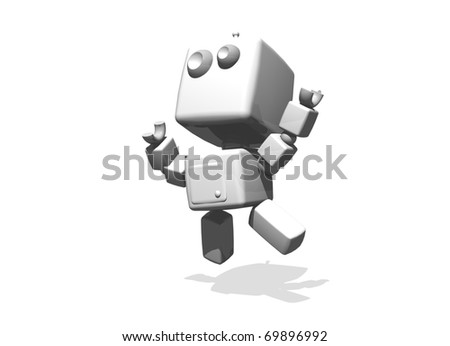 Happy white funny robot jumping; 3-d computer generated illustration. Subject isolated on white background. - stock photo