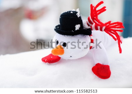 happy winter christmas snowman with carrot and eyes - stock photo