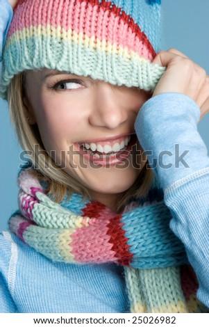 Happy Winter Girl - stock photo