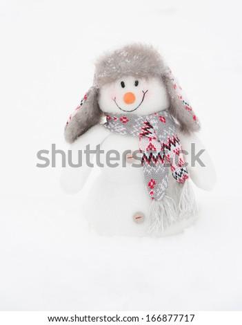 Happy winter snowman background (copy space) - stock photo