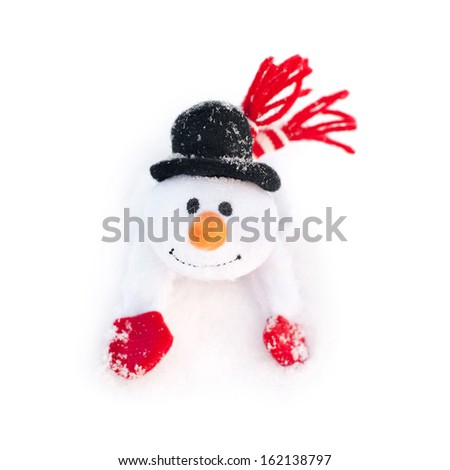 happy winter toy christmas snowman with carrot in black hat and red mittens - stock photo