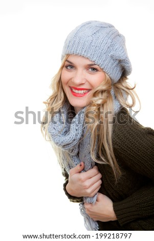 happy winter woman with nice smile and teeth. - stock photo