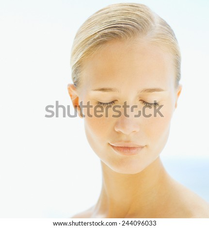 Happy Woman after Bath - stock photo
