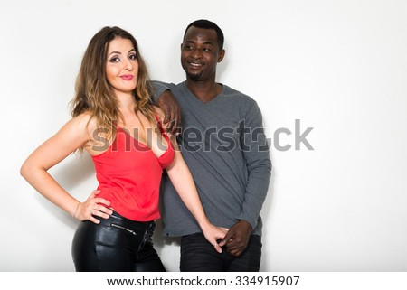 Happy woman and man in love - stock photo