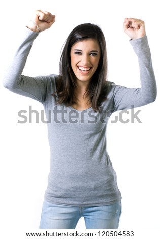 Happy woman celebrating - stock photo