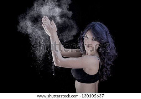 happy woman clapping hands - stock photo