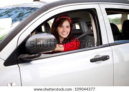happy woman driver - stock photo