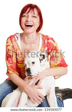 Happy woman embracing a young boxer dog - stock photo