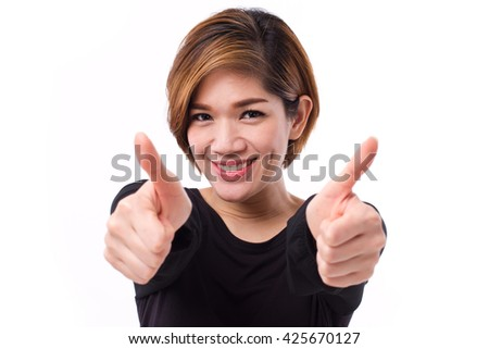 happy woman giving two thumbs up, studio white isolate of Asian Chinese-Thai woman model. - stock photo