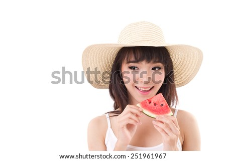 happy woman hand holding watermelon, summer time concept - stock photo