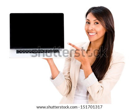 Happy woman holding a laptop - isolated over a white background  - stock photo