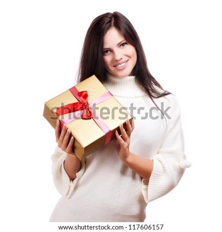 Happy woman holding gift box, isolated on white background - stock photo