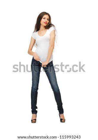 happy woman in blank white t-shirt - stock photo