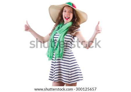 Happy woman in panama and green scarf isolated on white - stock photo