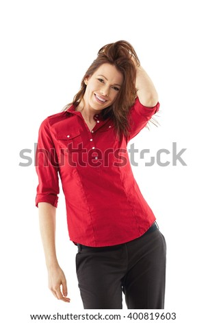 Happy woman isolated over white background - stock photo