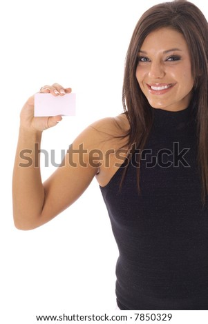 happy woman looking at a business card vertical - stock photo