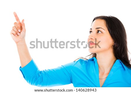 Happy woman pointing up with her finger - isolated on white background - stock photo